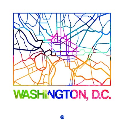 graphic relating to Washington Dc Printable Map known as Naxart Washington D.C. Watercolor Road Map