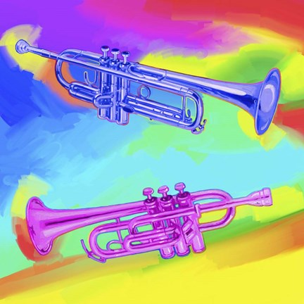 Framed Pop Art Trumpets Print