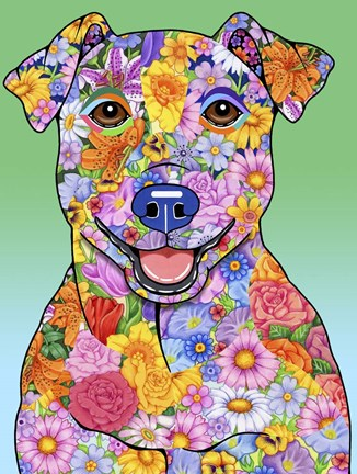 Framed Flowers Jack Russell Print