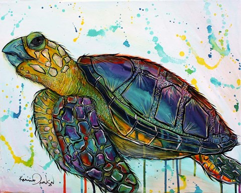 Framed Sea Turtle w/paint splotches Print