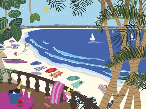 relaxing at the beach fine art print by cindy wider at