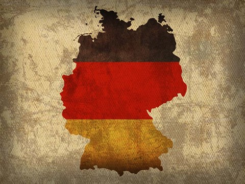 Framed Germany Country Flag Map Print