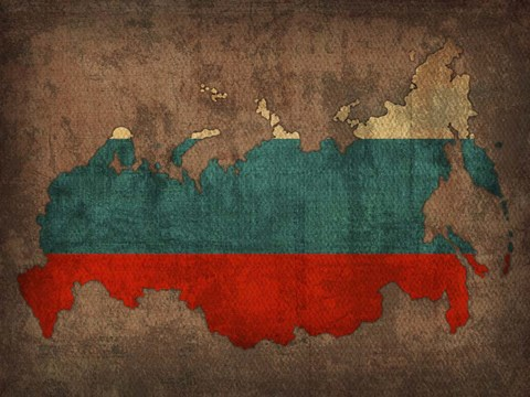 Framed Russia Country Flag Map Print