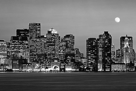 Framed Boston at night (Black And White) Print
