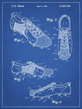 Framed Blueprint Soccer Cleats Patent Print