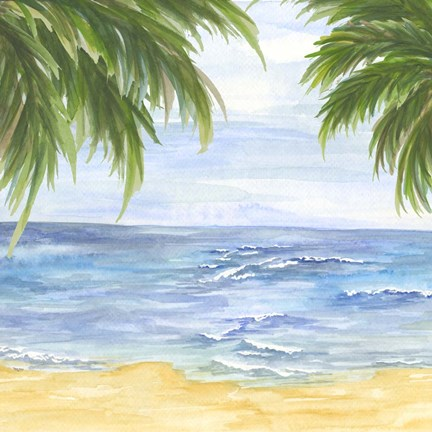 Framed Beach And Palm Fronds Ii Print