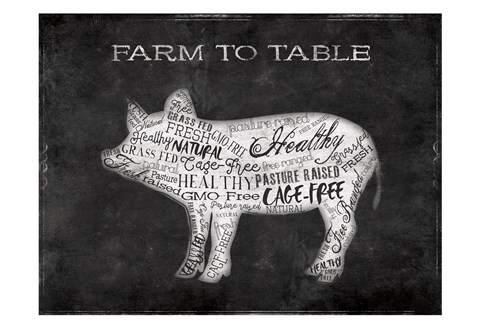 Framed Farm To Table Pig Print