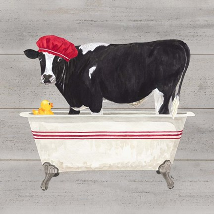 Framed Bath time for Cows Tub Print