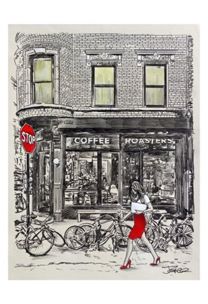 Framed Coffee Roasters Place Print