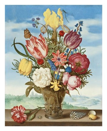 Framed Ambrosius Bosschaert, Bouquet of Flowers on a Ledge Print