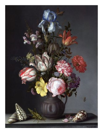 Framed Balthasar van der Ast, Flowers in a Vase with Shells and Insects Print