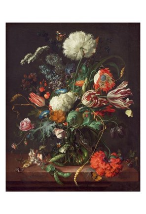 Framed Jan Davidsz de Heem, Vase of Flowers Print