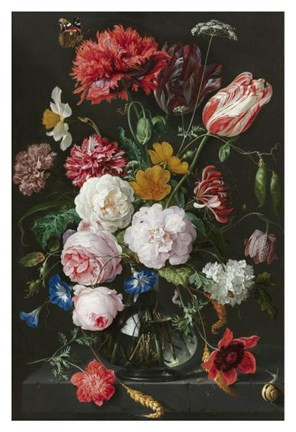 Framed Abraham Mignon, Still Life with Flowers in a Glass Vase Print