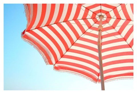 Framed Beach Umbrella and Sky Print