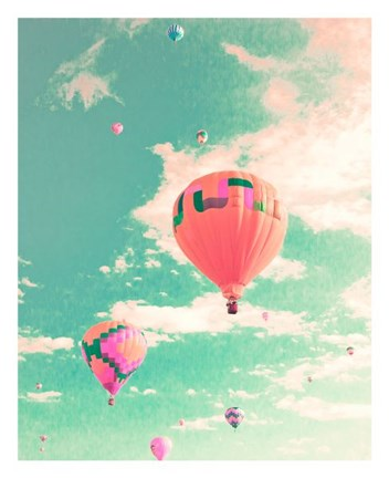 Framed Colorful Hot Air Balloons Print