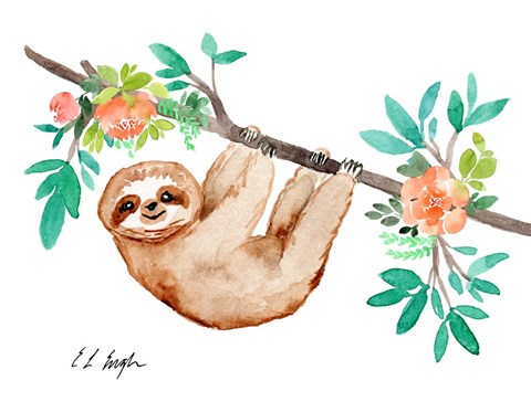 Framed Little Brown Sloth with Flowers Print