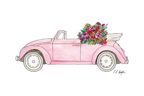 Framed Pink Car with Tropical Flowers Print