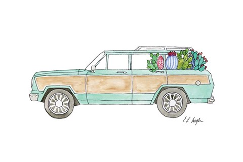 Framed Wagoneer with Cactus Print