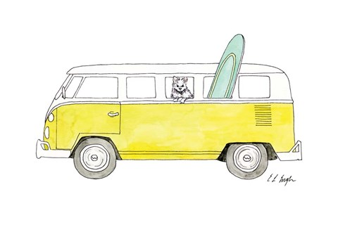 Framed Yellow Van with Green Surf Board Print