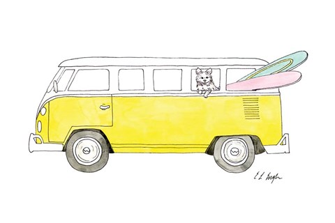 Framed Yellow Van with Pink and Green Surfboards Print