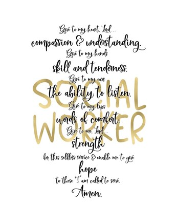 Framed Social Worker Prayer Print