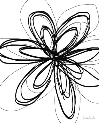 Framed Black Ink Flower I Print