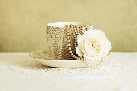 Framed Antique Cup and Saucer with White Flower and Pearls Print