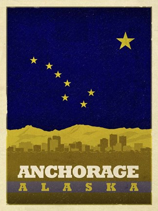 Framed Anchorage Flag Print