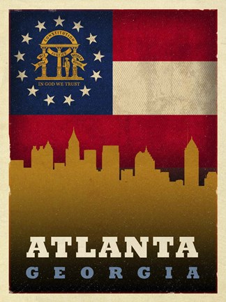 Framed Atlanta Flag Print