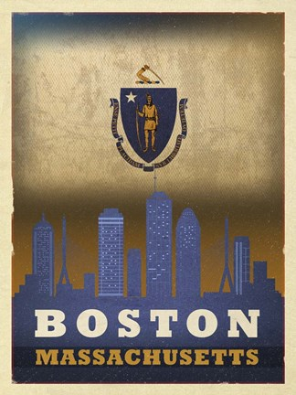 Framed Boston Flag Print
