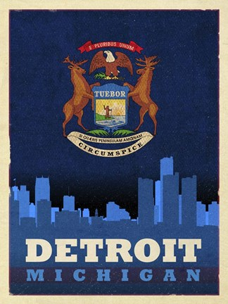 Framed Detroit City Flag Print