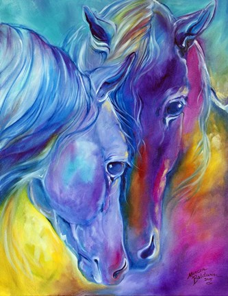 Framed Color My World With Horses Loving Spirits Print