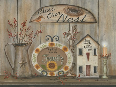 Framed Bless Our Nest Country Shelf Print