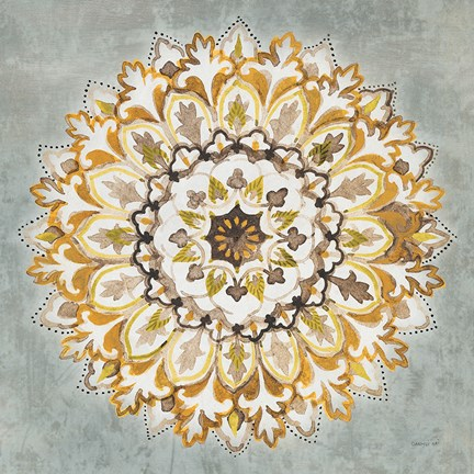Framed Mandala Delight II Yellow Grey Print