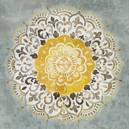 Framed Mandala Delight IV Yellow Grey Print