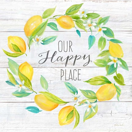 Framed Our Happy Place Lemon Wreath Print