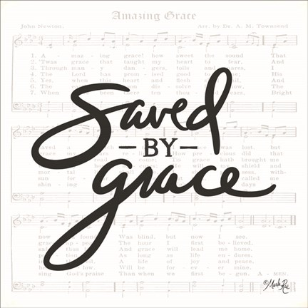 Framed Saved by Grace Print