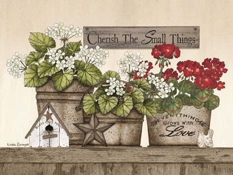 Framed Cherish the Small Things Geraniums Print