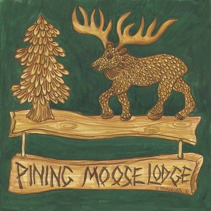 Framed Adirondack Pining Moose Lodge Print
