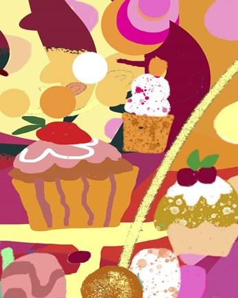 Framed Desserts With Abstract Background Print