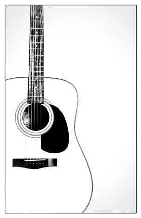 Framed Black and White Classic Guitar, Print