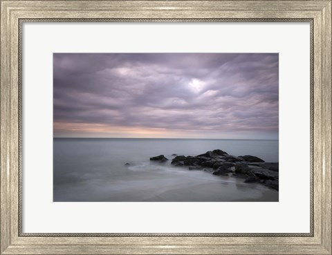 Framed Sunrise On Stormy Beach Landscape, Cape May National Seashore, NJ Print