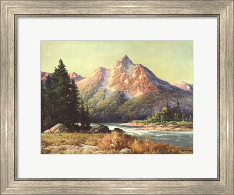 Framed Evening in the Tetons Print