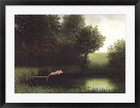 Framed Diving Pig Print