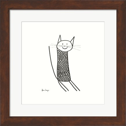 Framed Knit Cat Print