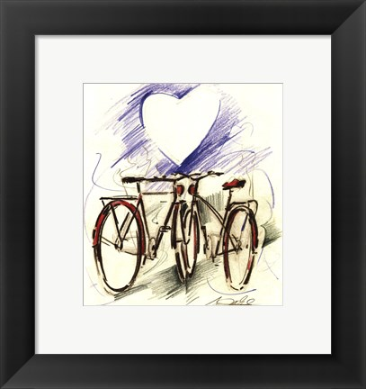 Framed Bicycle Romance Print