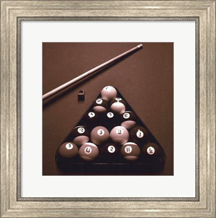 Framed Pool Table I - Sepia Print