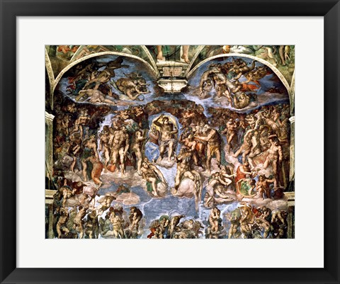 Framed Last Judgement, from the Sistine Chapel, 1538-41 Print