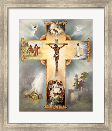 Framed Living Cross Print
