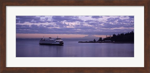 Framed Ferry in the sea, Bainbridge Island, Seattle, Washington State Print